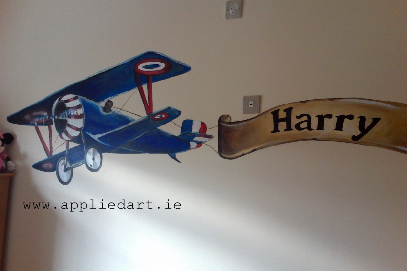 airplane banner name painted kids murals wall painting dubl,in ireland mural company appliedart.ie
