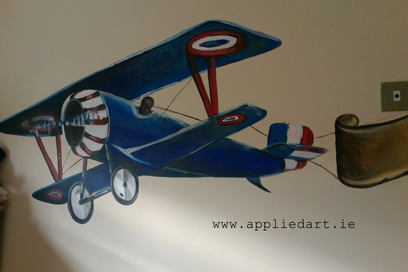 airplkane boy mural kids murals wall painting dubl,in ireland mural company appliedart.ie