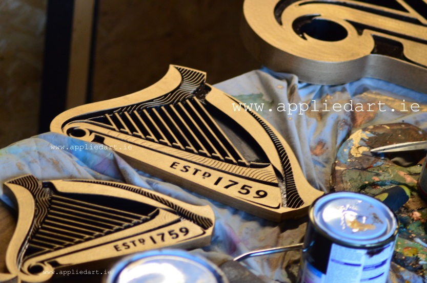 guinness harps gold painted artist www.appliedart.ie irish artist