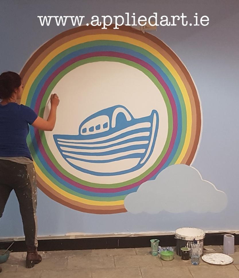 the ark puddenhill logo painted mural artist dublin applied art muralsist dublin artist appliedart ireland chalk concept artist design custom wood design klaudia pawlowska byrne ireland