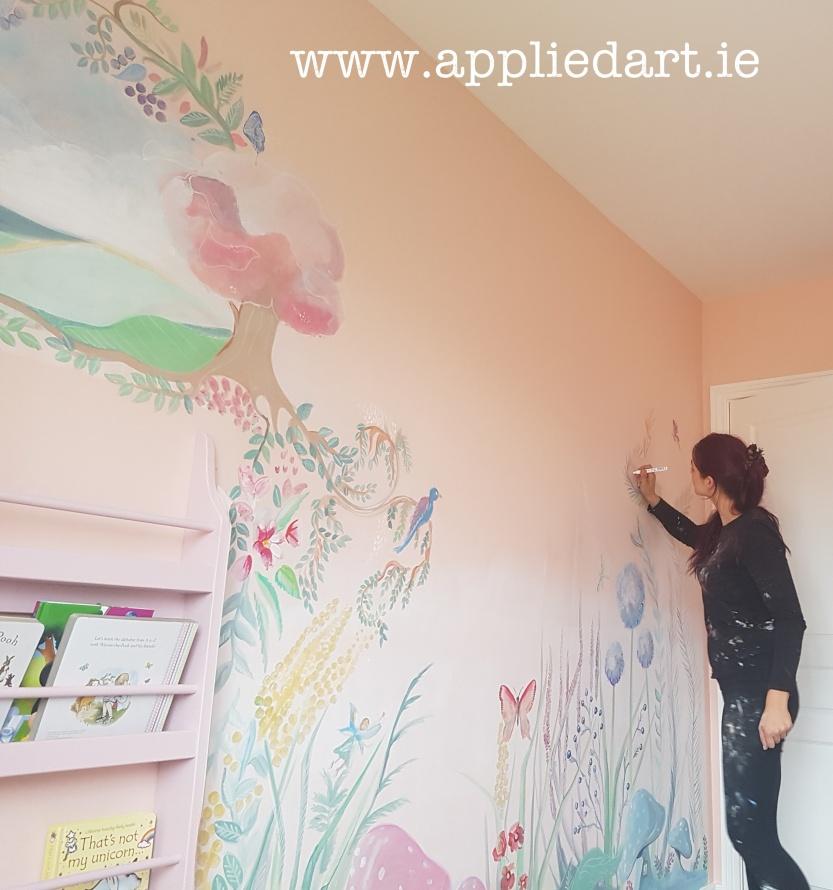 fairy theme mushroom fairy mural dublin artist muralist painting fairy theme aapplied art ie (1)