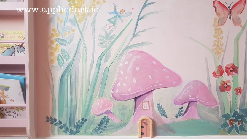 mushroom fairy mural dublin artist muralist painting fairy theme aapplied art ie