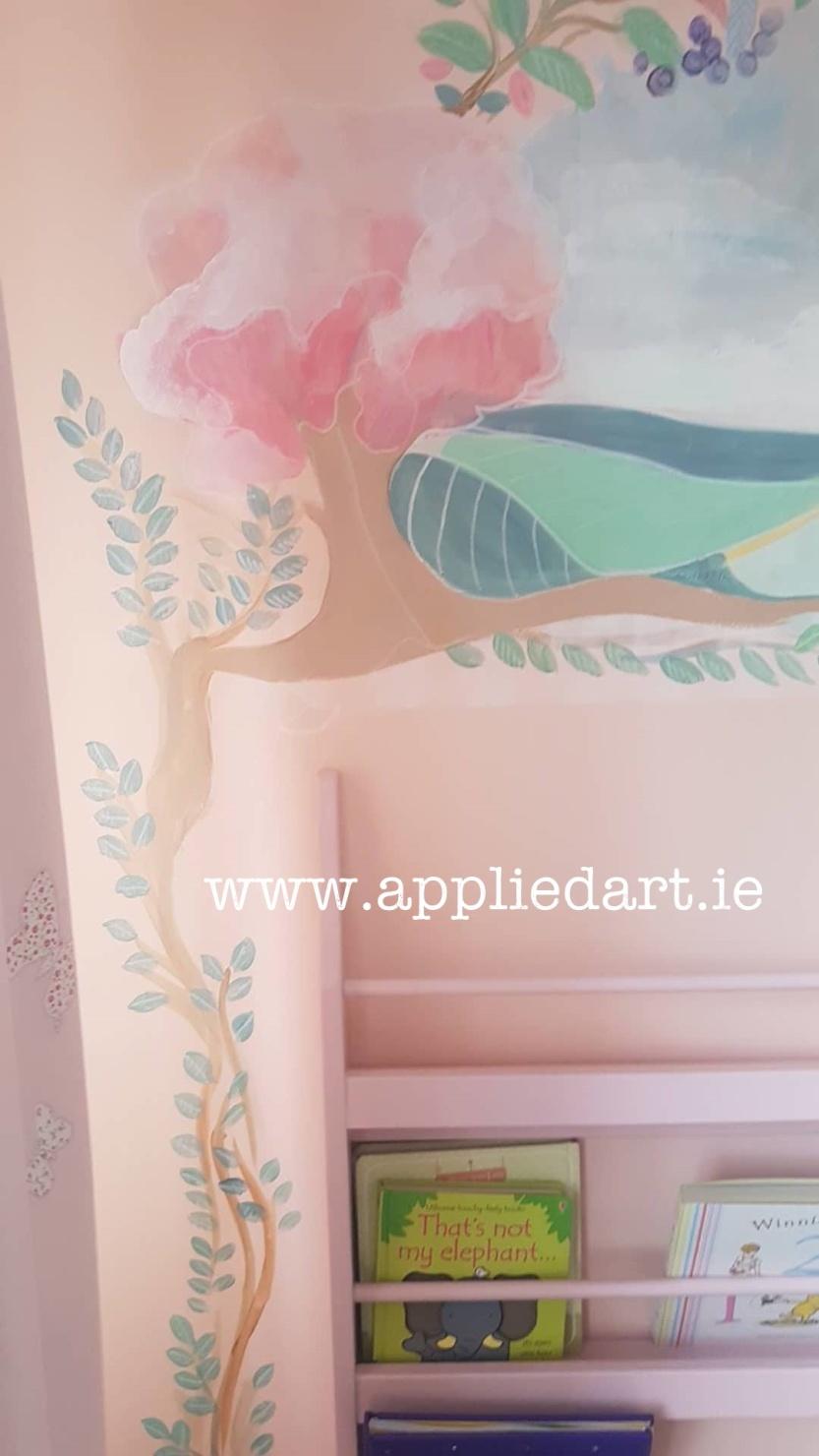 wonderland theme mushroom fairy mural dublin artist muralist painting fairy theme aapplied art ie