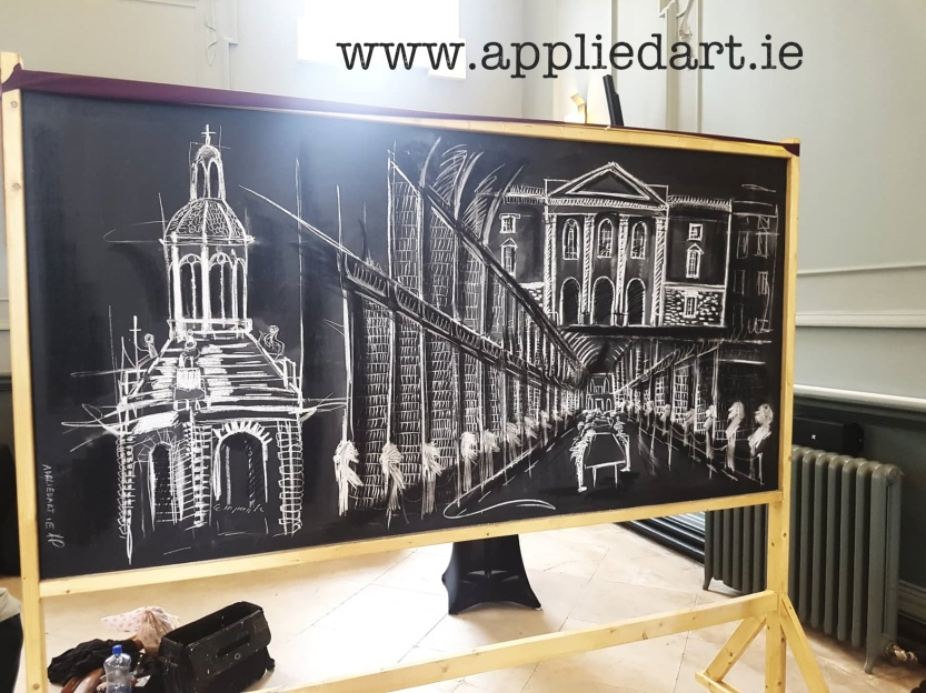 artist dublin black whitev chalk board event drawing dublin ireland trinity college dublkin event work boards klaudia byrne pawlowska