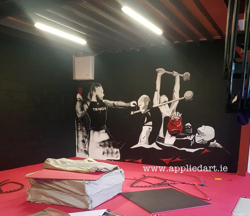 Mural Painteed for Tengu Ireland Dublin Gym Art Graphics painted in Ireland by Applied Art ie Klaudia Byrne Mural Branding Design (1)