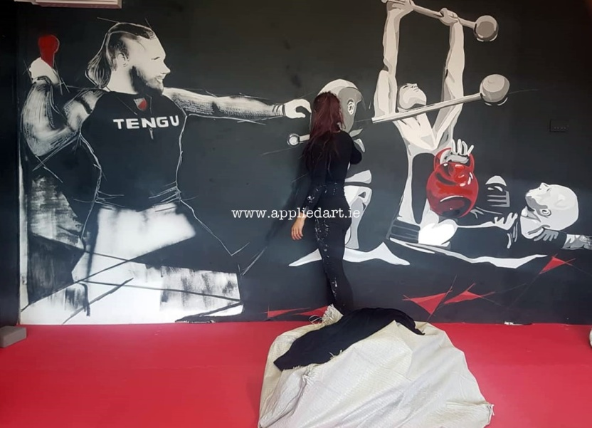 Mural Painteed for Tengu Ireland Dublin Gym Art Graphics painted in Ireland by Applied Art ie Klaudia Byrne Mural Branding Design (10)