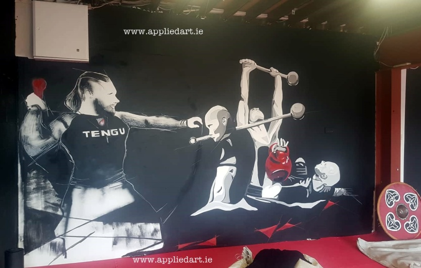 Mural Painteed for Tengu Ireland Dublin Gym Art Graphics painted in Ireland by Applied Art ie Klaudia Byrne Mural Branding Design (12)
