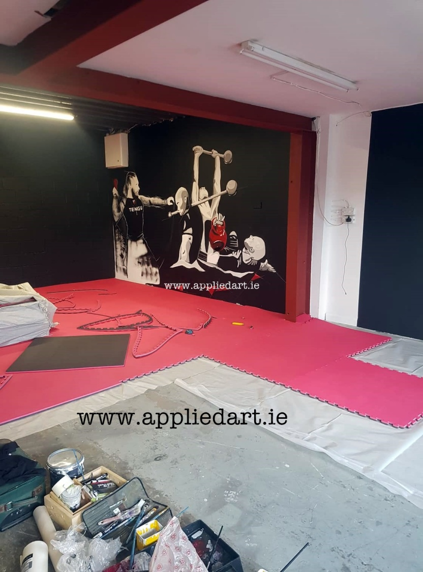 Mural Painteed for Tengu Ireland Dublin Gym Art Graphics painted in Ireland by Applied Art ie Klaudia Byrne Mural Branding Design (14)
