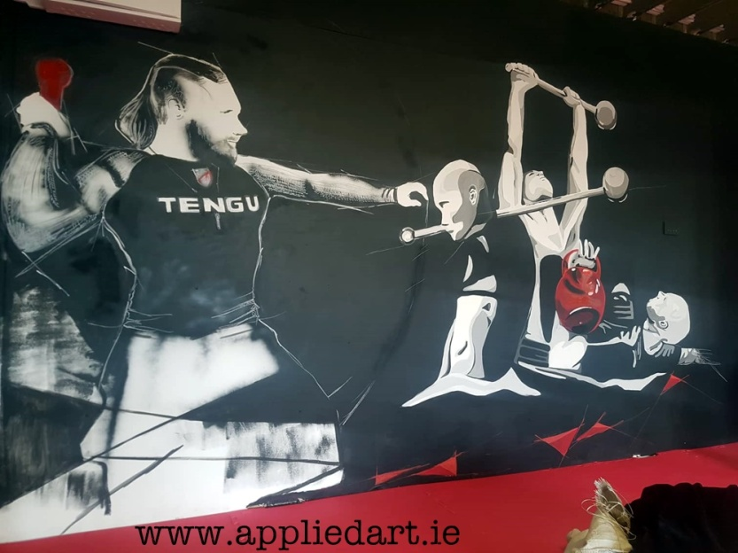 Mural Painteed for Tengu Ireland Dublin Gym Art Graphics painted in Ireland by Applied Art ie Klaudia Byrne Mural Branding Design (17)