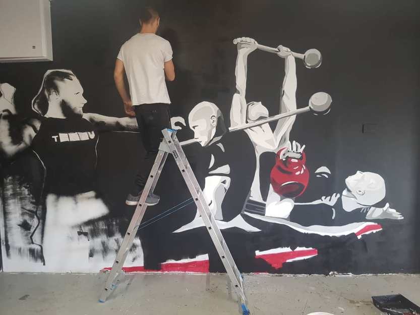 Mural Painteed for Tengu Ireland Dublin Gym Art Graphics painted in Ireland by Applied Art ie Klaudia Byrne Mural Branding Design (18)