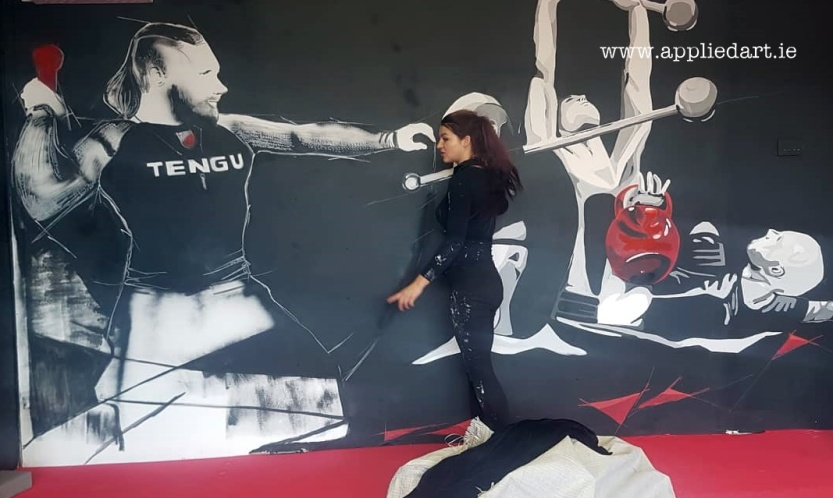 Mural Painteed for Tengu Ireland Dublin Gym Art Graphics painted in Ireland by Applied Art ie Klaudia Byrne Mural Branding Design (2)