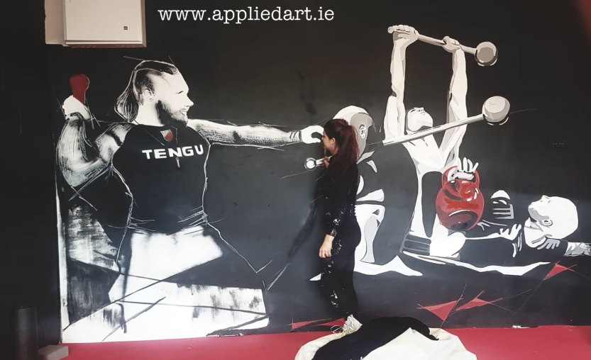 Mural Painteed for Tengu Ireland Dublin Gym Art Graphics painted in Ireland by Applied Art ie Klaudia Byrne Mural Branding Design (3)