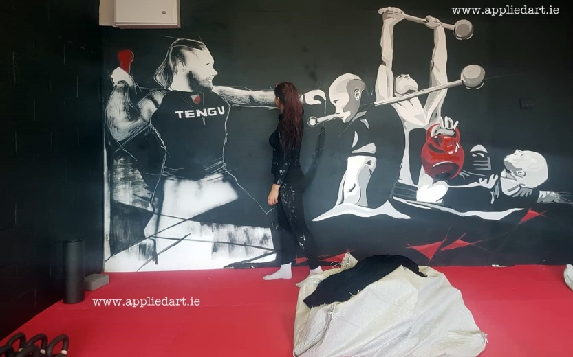 Mural Painteed for Tengu Ireland Dublin Gym Art Graphics painted in Ireland by Applied Art ie Klaudia Byrne Mural Branding Design (6)