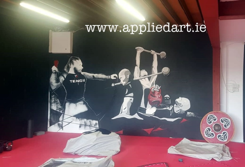 Mural Painteed for Tengu Ireland Dublin Gym Art Graphics painted in Ireland by Applied Art ie Klaudia Byrne Mural Branding Design (8)