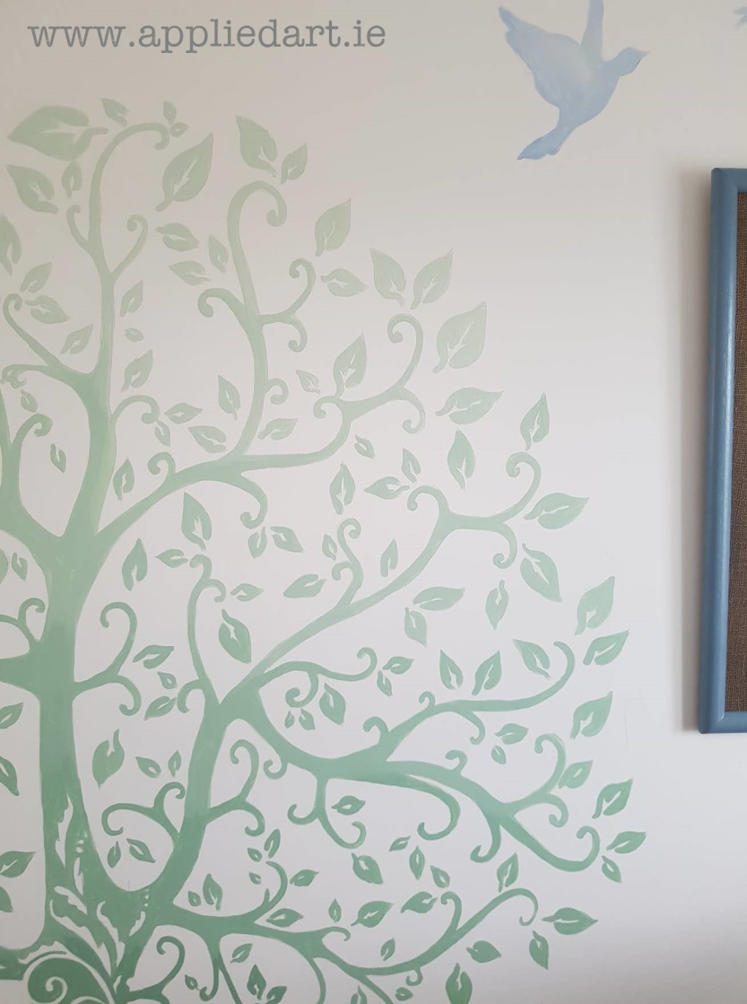 simple shaded tree mural handpainted applied art dublin mural services