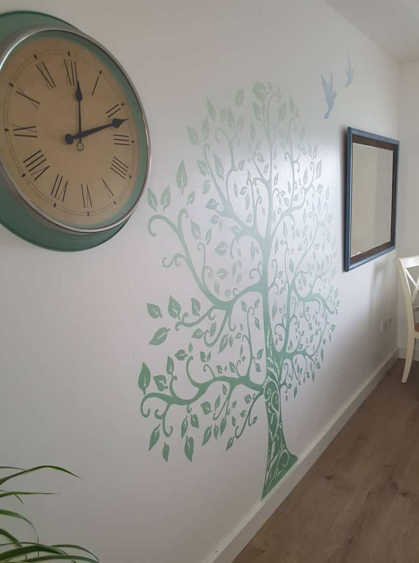 simple shaded tree mural muralist dublin ireland handpainted applied art dublin mural services klaudia byrne mural murals murals murals dublin ireland