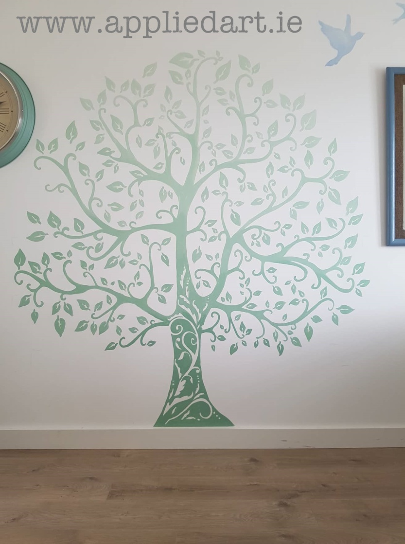 simple shaded tree mural muralist handpainted applied art dublin mural services klaudia byrne mural murals murals murals dublin ireland