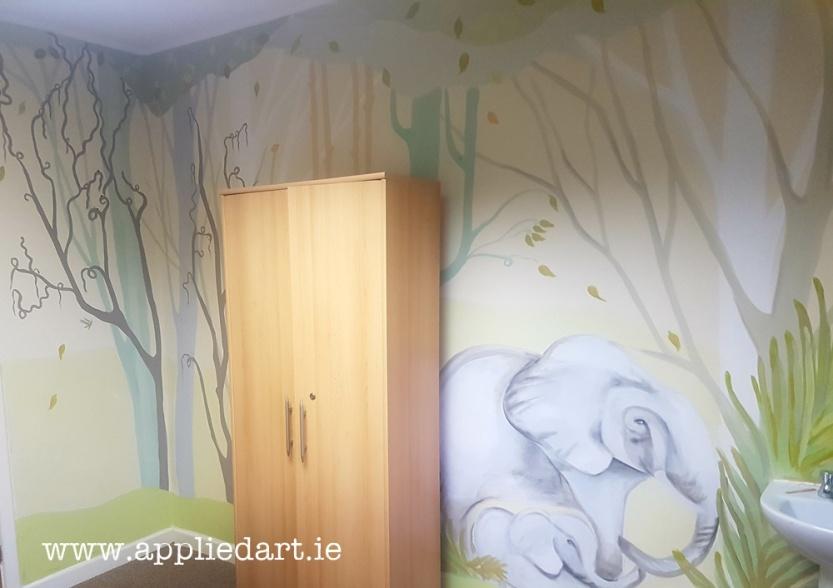Jungle mural animal painting wall giraffe elephant mural trees painted modern space applied art dublin ireland artist effect wall paintng art dublin leister artist commission muralist (