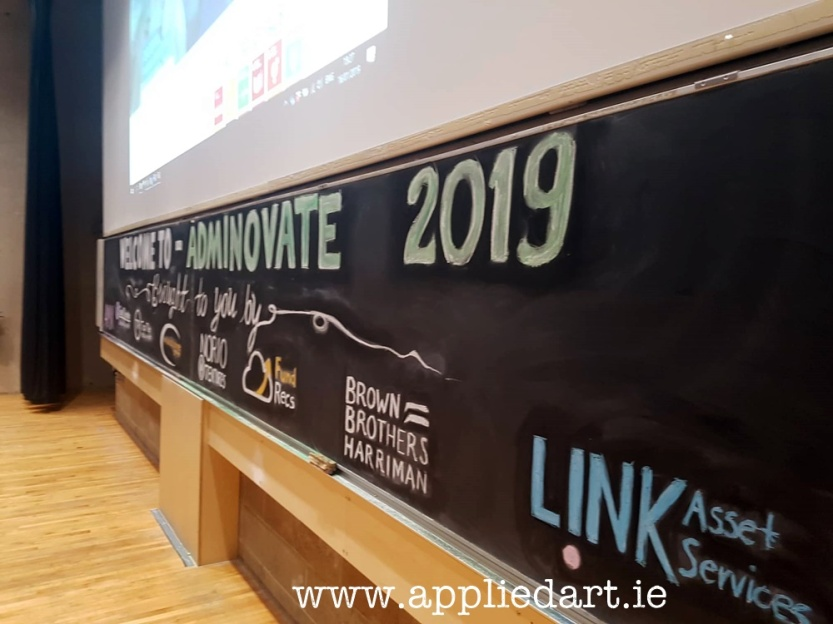 adminovate 2019 art chalk art klaudia byrne applied art event chalk artist branding chalk logois on black board sponsors designs appliedvart ireland sponsors dublin artist dublin