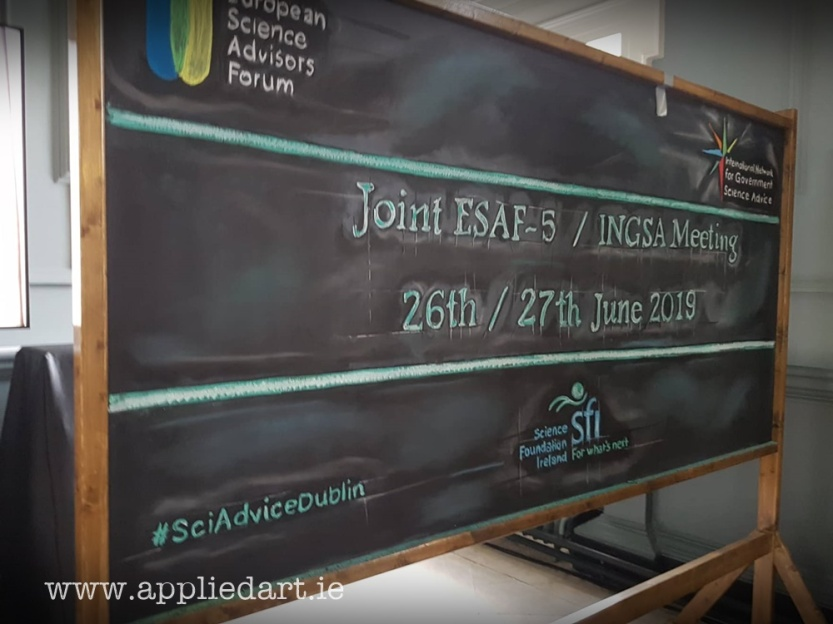 Trinity College Applied art even boards chalk art for event science logos chalk drawn klaudia byrne dublin artist murals art services event artistic ideas foer event decoration (8)