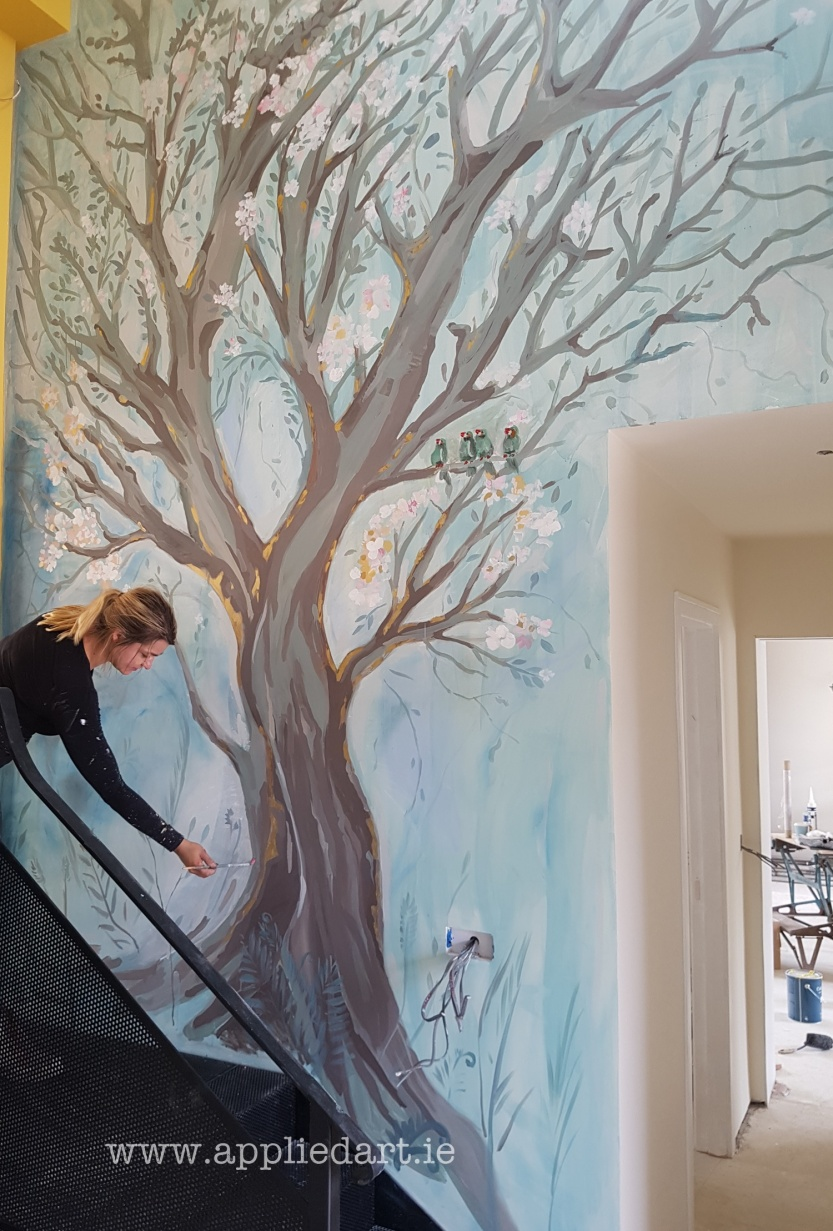 Mural Wicklow painted tree klaudia byrne applied art artist dublin hand painted modern mural gold effect natural watercolor mural ireland artistic tree painted on the wall wall art muralist dublin art  (1 (31).jpg